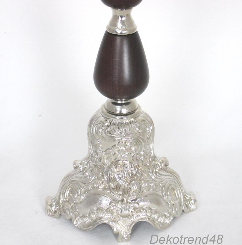 kerzenleuchter 5 armig silber mit holz kronleuchter antik barock kerzenst nder. Black Bedroom Furniture Sets. Home Design Ideas