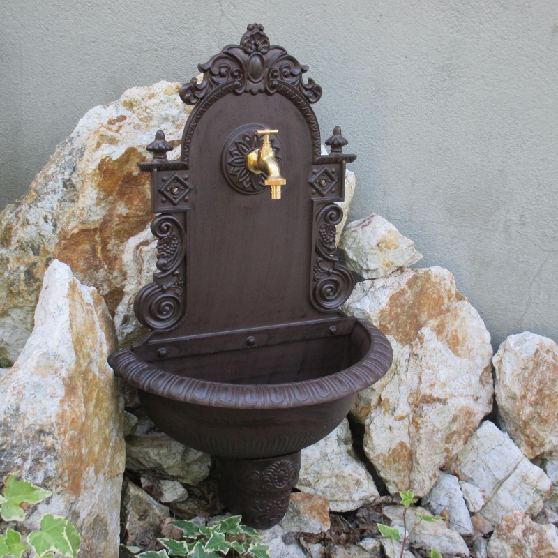 Wandbrunnen garten waschbecken braun wandwaschbecken antik - Garten wandbrunnen ...