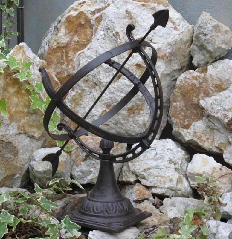 Sonnenuhr Uhr Aus Gusseisen Wetterfest Gartendekoration Mit Sockel Antik  Garten