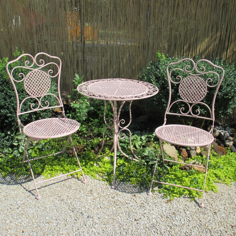 gartenm bel sitzgruppe eisen 1 tisch 2 st hle balkon bistro set rosa. Black Bedroom Furniture Sets. Home Design Ideas