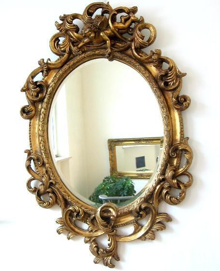 barock spiegel wandspiegel oval 90cm gold. Black Bedroom Furniture Sets. Home Design Ideas