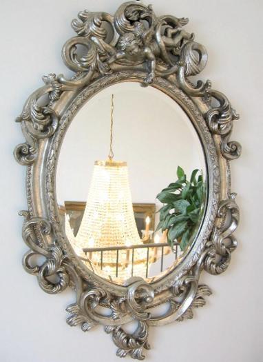 barock spiegel wandspiegel oval 90cm silber. Black Bedroom Furniture Sets. Home Design Ideas