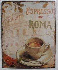 Blechschild Wandschild Metall Kaffee Espresso in Rom Wandbild Cafedeko Blechbild