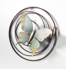 Wandbild Schmetterling Metall Grün 30 cm