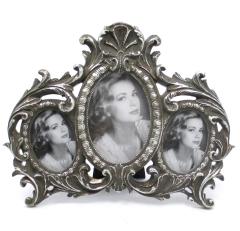 Bilderrahmen 3 - Fach Rahmen Oval Silber Antik - Stil
