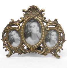 Barock Stehrahmen Bilderrahmen Gold 3 - Fach - Rahmen Gallerie Antik Fotorahmen