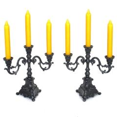 Kerzenleuchter 2 Stück schwarz 3 - Armig Kerzenständer Tischleuchter Antik Barock