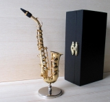 Alto Saxophone miniature brass deco model with case and stand