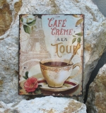 Metal sign metal shield mural sign Eiffel Tower Cafe Crema a la Tour Paris