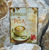 sign metal sign wall Cappuccino Pisa Coffee Shop Kitchen mural leaning tower