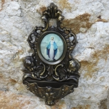 Stoup Bronze 2 Guardian Angel Holy Water - wall - container pool Madonna