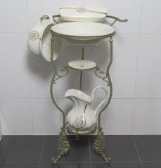 Waschset mit Ständer Antik Lavabo Waschschüssel Krug Seifenschale Nachttopf Gold
