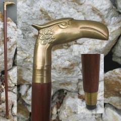 Spazierstock Gehstock mit Adler Kopf Messing Wanderstock 92 cm
