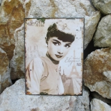 Tin Sign Audrey Hepurn picture film Hollywood Wanddeko wall Nostalgia Antique