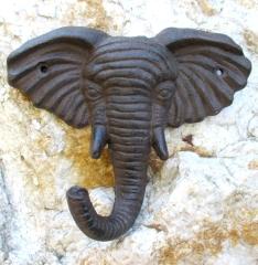 Garderobe Wand Haken Gusseisen Handtuch Eisen Elefant Kopf Afrika Deko