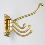Coat hook Brass Wall Wardrobe Art Nouveau 4 hooks