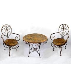 Gartenmöbel Antik Stil Eisen 1 Tisch 2 Stühle Braun Bistroset Balkonset
