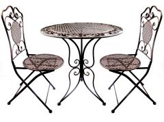 Gartenmöbel Eisen Bistroset 1 Tisch 2 Klappstühle Braun Antik Sitzgruppe Robust