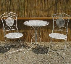 Gartenmöbel Sitzgruppe Eisen 1 Tisch 2 Stühle Balkon Bistro-Set Weiss
