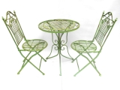 Gartenmöbel Grün Sitzgruppe Metall Eisen 1 Tisch 2 Stühle Balkon Bistro-Set
