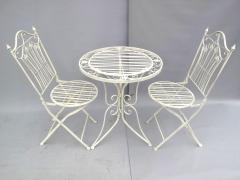 Gartenmöbel Weiss Sitzgruppe Metall Eisen 1 Tisch 2 Stühle Balkon Bistro-Set