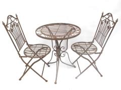 Gartenmöbel Braun Sitzgruppe Metall Eisen 1 Tisch 2 Stühle Balkon Bistro-Set