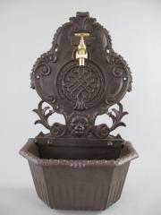 Waschbecken Wandbrunnen 60 cm Braun Wandwaschbecken Antik Aluguss