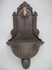 Wandbrunnen 70 cm Gusseisen Braun Wandwaschbecken Antik Garten-Waschbecken