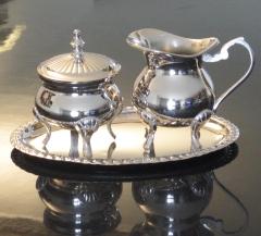 Milch und Zucker Set + Tablett Silber Antik Jugendstil Sahnekännchen Menage