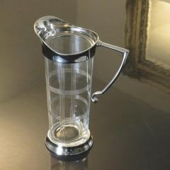 Karaffe Silber Edel Luxus Wasserkanne Krug Glaskrug mit Schliff Jugendstil