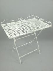 Beistelltisch Tisch Eisen Gartentisch Blumentisch Weiss