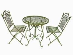 Gartenmöbel 1 Tisch 2 Stühle Eisen Grün Bistro-Set Antik Stil