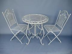 Gartenmöbel 1 Tisch 2 Stühle Eisen Weiss Bistro-Set Antik Stil