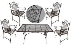 Gartenmöbel Antik Stil Eisen 1 Tisch 4 Stühle Braun Bistroset