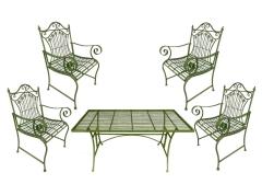 Gartenmöbel Antik Stil Eisen 1 Tisch 4 Stühle Armlehnstühle Grün Gartensessel