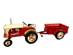 Blechmodell Old Traktor Antik Stil Rot mit Anhänger Oldtimer 32 cm Bulldog