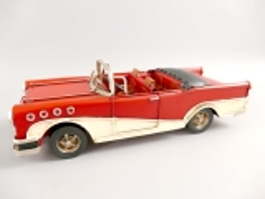 Blechauto Cadillac Oldtimer Antik Stil Rot/Weiss 25 cm Modellauto Nostalgie