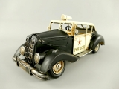 Blechauto Police USA Oldtimer Antik Stil Schwarz/Weiss 33 cm Modellauto Nostalgie