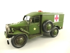 Blechauto Militär Sanitätswagen Oldtimer Antik Stil Olivgrün 32 cm Modellauto Nostalgie