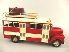 Blechauto Bus Autobus Oldtimer Antik Stil Rot/Weiss 26 cm Modellauto Nostalgie
