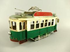 Blechauto Straßenbahn Oldtimer Antik Stil Grün 31 cm Modellauto Nostalgie