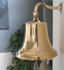 Schiffsglocke XXL Messingglocke Wandglocke Glocke Gold 14 cm Durchmesser Messing