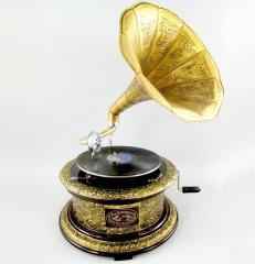 Grammophon Ronda Gold Gramophone Gramofon mit Trichter Anitk Design Dekoration