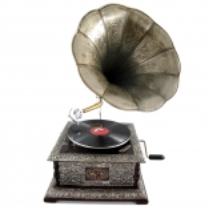 Grammophon Square Silver Gramophone Gramofon mit Trichter Anitk Design Dekoration