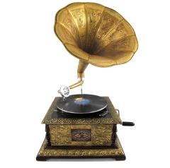 Grammophon Square Gold Gramophone Gramofon mit Trichter Anitk Design Dekoration