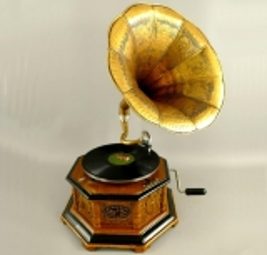 Grammophon Achteckig Gramophone Gramofon mit Trichter Anitk Design Dekoration