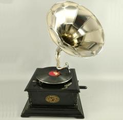 Grammophon Square Black Gramophone Gramofon mit Trichter Anitk Design Dekoration