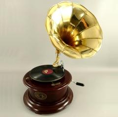 Grammophon Rondo-Brown Gramophone Gramofon mit Trichter Anitk Design Dekoration