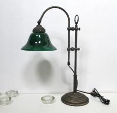 Schriebtischlampe Bürolampe Nostalgie Bankerlamp Messing Schusterschirm Grün Antik