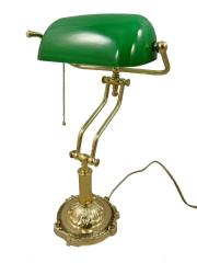 Schriebtischlampe Bürolampe Nostalgie Bankerlampe Messing Grün Antik